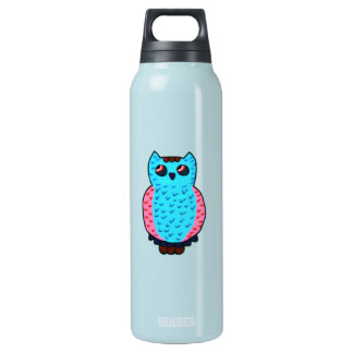 Neon Blue Owl Insulated Water Bottle