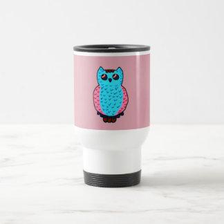 Neon Blue Owl Travel Mug