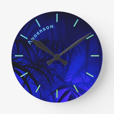 Neon BLUE PALM Leaf Personalized Wall Round Clock
