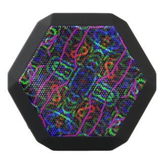 Neon Blue Purple Kaleidoscope Abstract Design Black Bluetooth Speaker