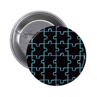 Neon Blue Puzzle Pinback Button