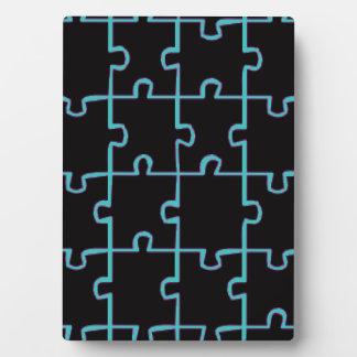 Neon Blue Puzzle Plaque