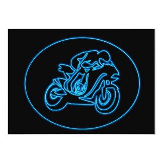 Neon Blue Racing Motorcycle Silhouette Card
