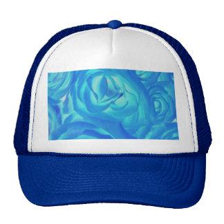 Neon Blue Rose Cap Trucker Hat