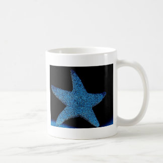 Neon Blue Sea Star Coffee Mug