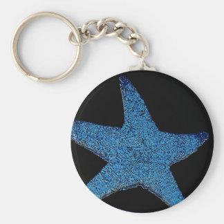 Neon Blue Sea Star Key Chains