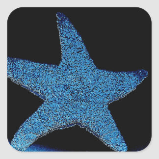 Neon Blue Sea Star Square Sticker