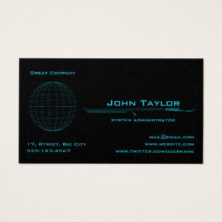 Neon Blue Sphere Cyber Business Card