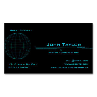 Neon Blue Sphere Cyber Business Card Magnet