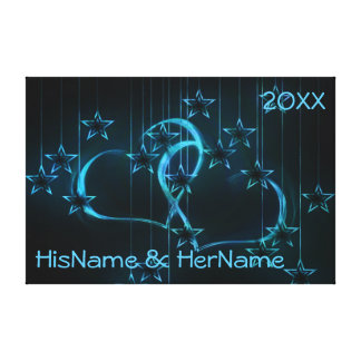 Neon Blue Stars Hearts Couples Anniversary Canvas