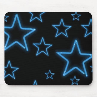 Neon Blue Stars Mouse Pad
