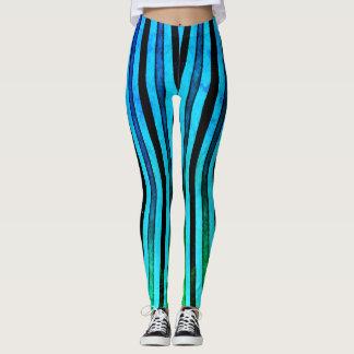 Neon Blue Stripes Leggings