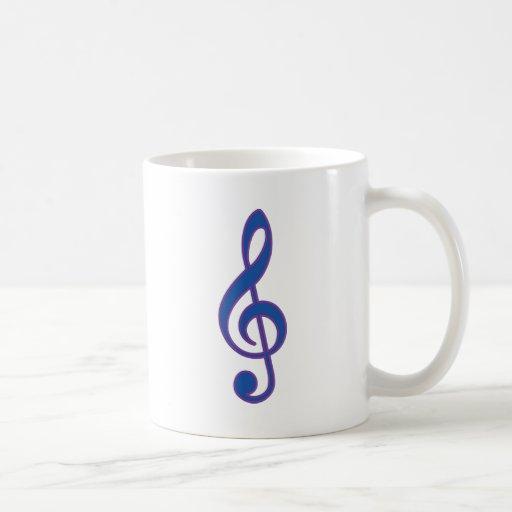 Neon Blue Treble Clef Coffee Mugs