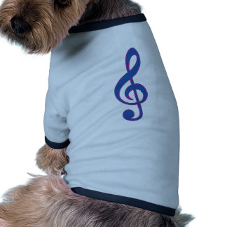 Neon Blue Treble Clef Dog T-shirt