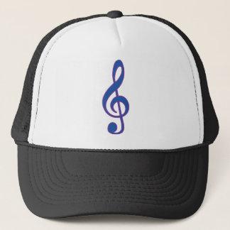 Neon Blue Treble Clef Trucker Hat