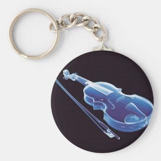 Neon Blue Violin Basic Round Button Keychain