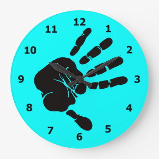 Neon Blue Wall Clock with Black Hand Print