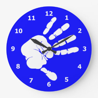 Neon blue Wall Clock with White Hand Print