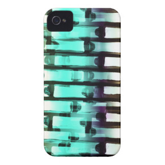 Neon Blue White Abstract Line Art Brick Wall iPhon Case-Mate iPhone 4 Case