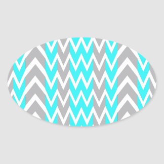 Neon Blue With Gray Fins Oval Sticker