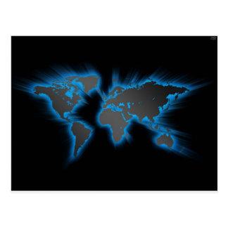 Neon Blue World Postcard