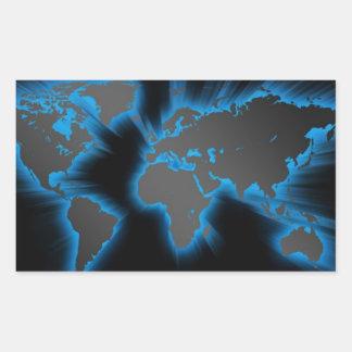 Neon Blue World Rectangular Sticker