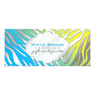 Neon Blue & Yellow Zebra Print Gift Certificates Card