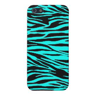 Neon Blue Zebra Print iPhone 5 Cover