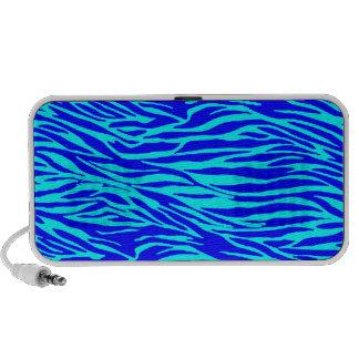Neon Blue Zebra Print Laptop Speaker