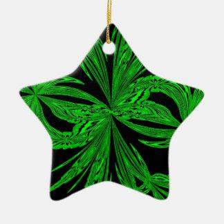 Neón botánico abstracto adorno de cerámica en forma de estrella