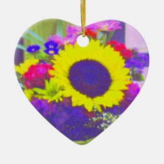 Neon Bouquet Heart-Shaped Ornament