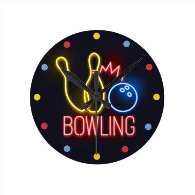 Neon Bowling Skittles Wall Clock