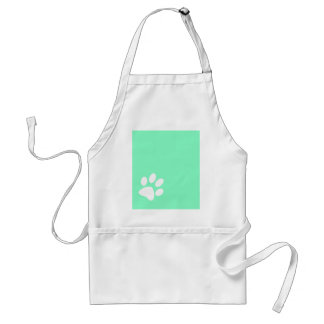 neon bright blue green teal paw print adult apron