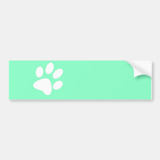 neon bright blue green teal paw print bumper sticker