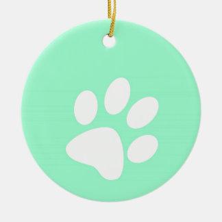neon bright blue green teal paw print ceramic ornament