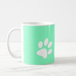 neon bright blue green teal paw print coffee mug
