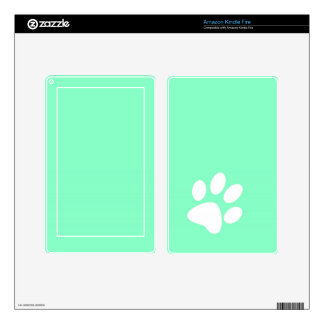 neon bright blue green teal paw print decal for kindle fire