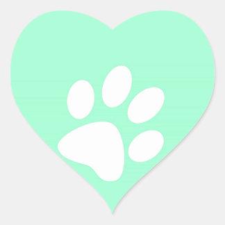 neon bright blue green teal paw print heart sticker