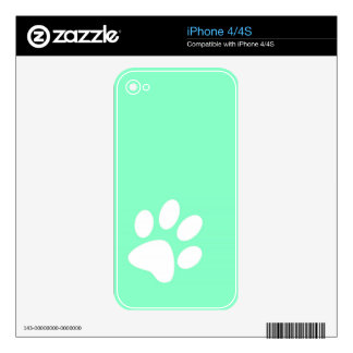 neon bright blue green teal paw print iPhone 4 decal