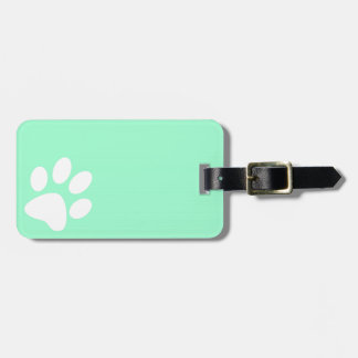 neon bright blue green teal paw print luggage tag