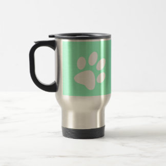 neon bright blue green teal paw print coffee mugs