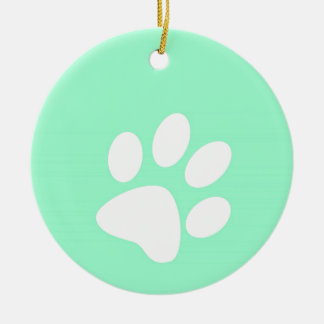 neon bright blue green teal paw print Double-Sided ceramic round christmas ornament