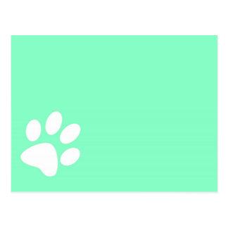 neon bright blue green teal paw print postcard