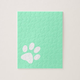 neon bright blue green teal paw print puzzles