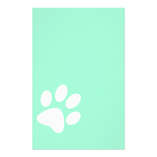 neon bright blue green teal paw print stationery