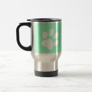 neon bright blue green teal paw print travel mug