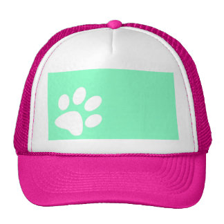 neon bright blue green teal paw print trucker hat