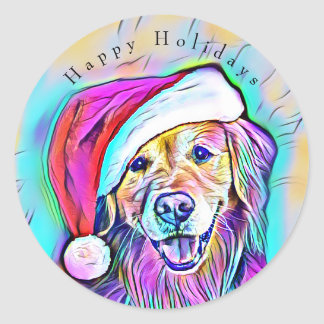 Neon Bright Colors Christmas Golden Retriever Art Classic Round Sticker