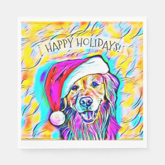 Neon Bright Colors Christmas Golden Retriever Art Paper Napkin