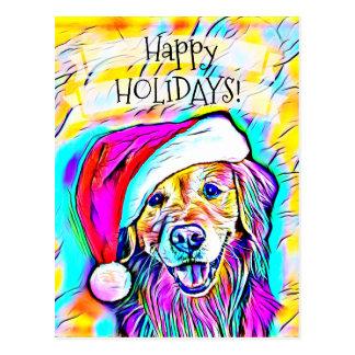 Neon Bright Colors Christmas Golden Retriever Art Postcard